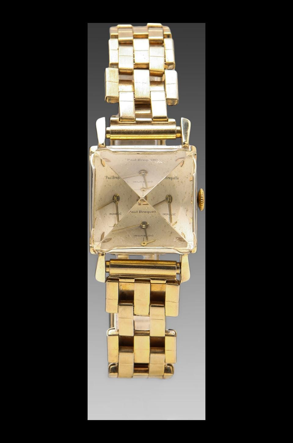 Unearthen Large Quartz Pyramid Analog Watch in Gold