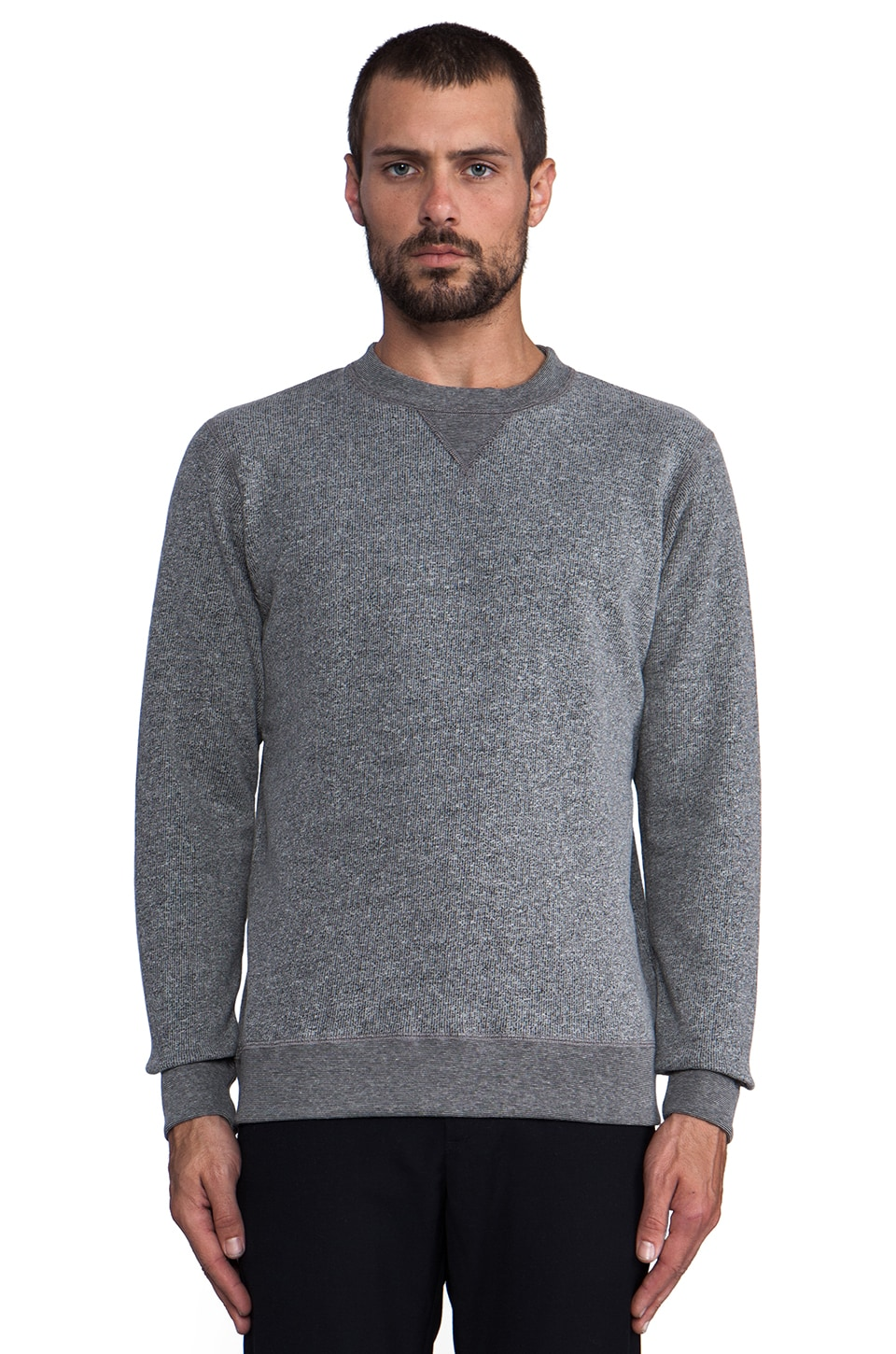 United Stock Dry Goods French Terry Crew Neck in Gray