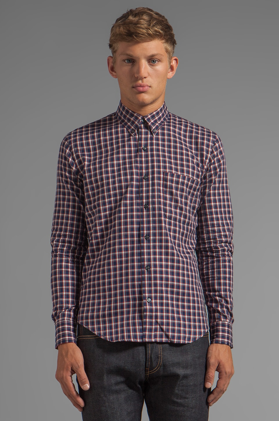 United Stock Dry Goods Plaid Shirt in Navy/Red