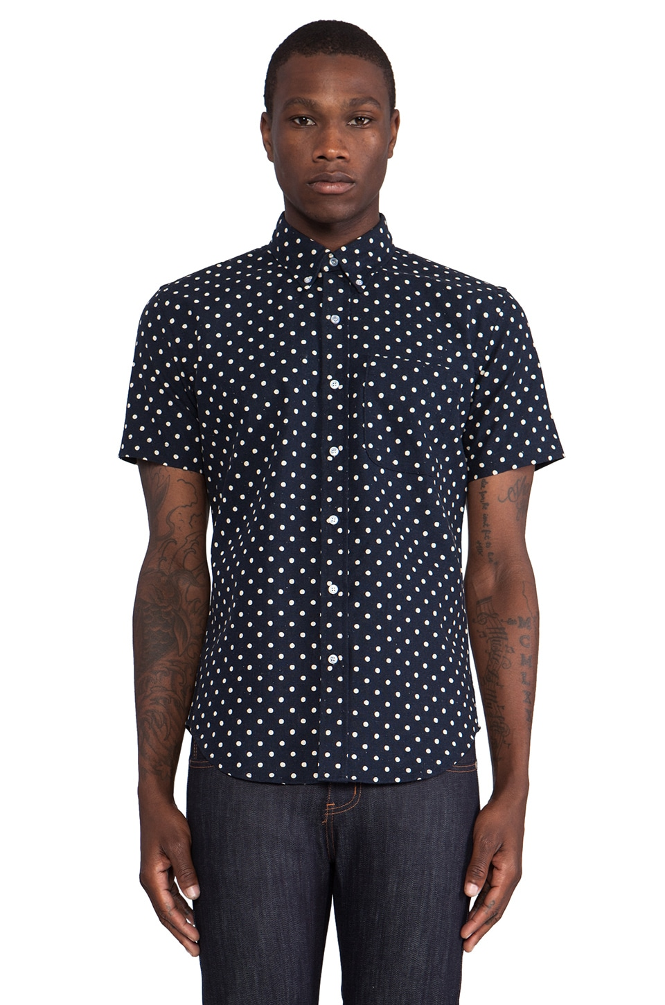 United Stock Dry Goods Large Polka Dot Button Down in Navy & Natural