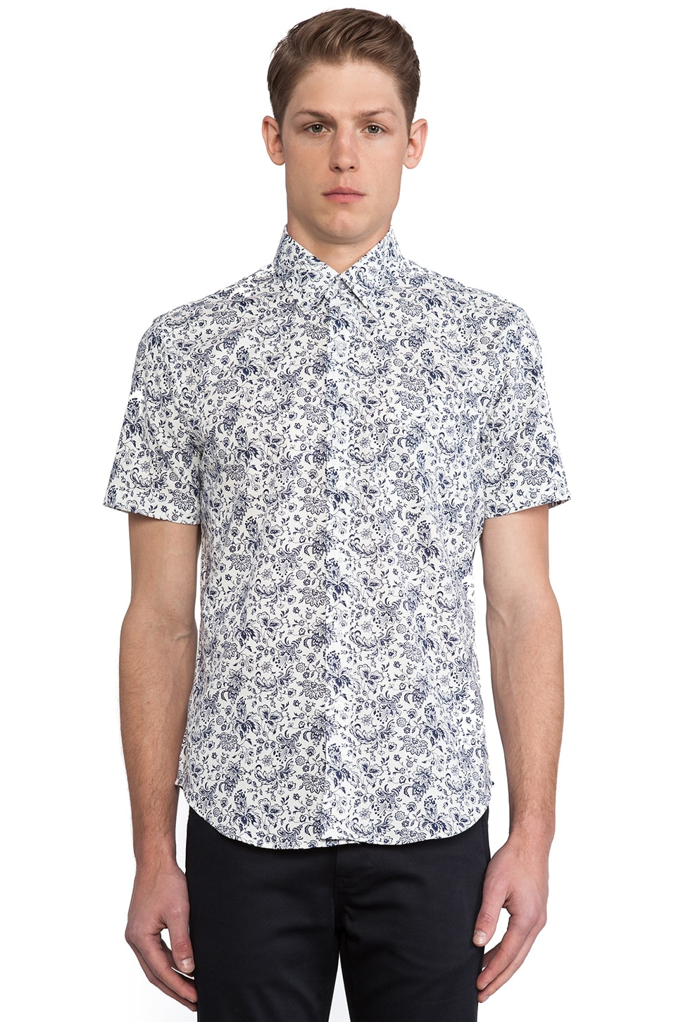 United Stock Dry Goods Provencal Print Button Down in White & Blue
