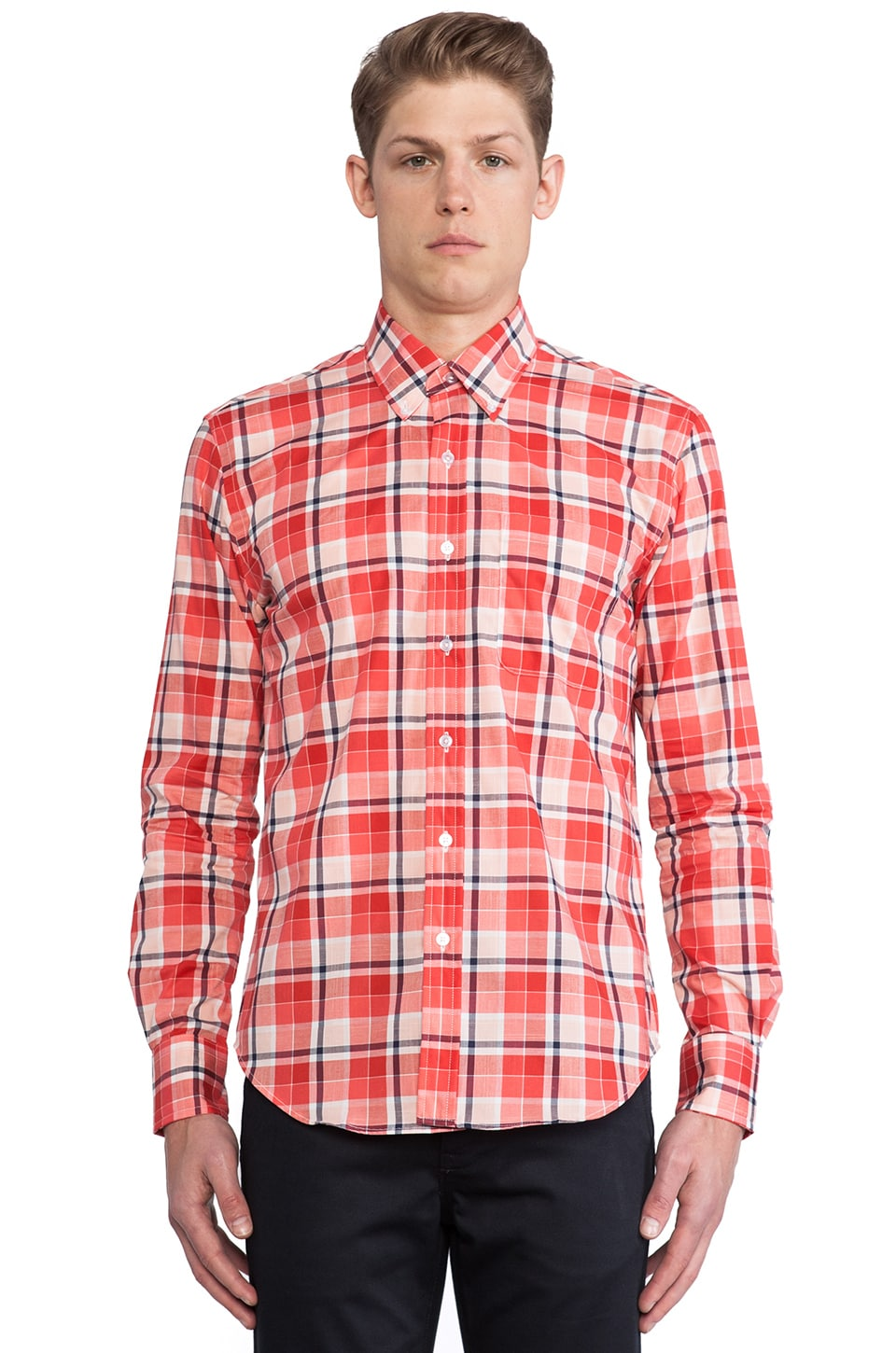 United Stock Dry Goods Plaid Button Down in Coral & Black