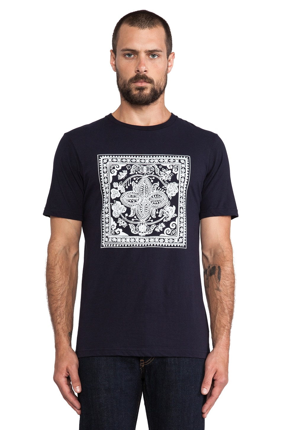 United Stock Dry Goods Square Batik Print T-Shirt in Navy