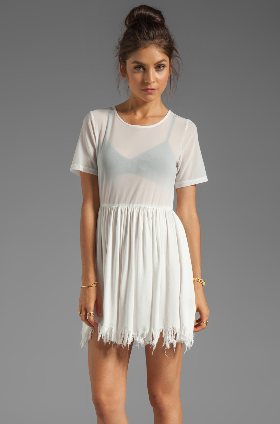 UNIF Shredder Dress in White