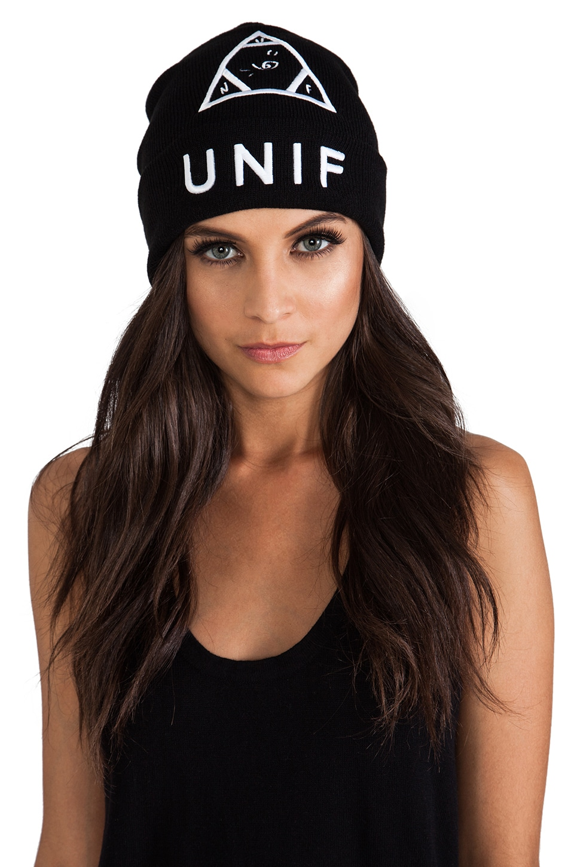 UNIF Logo Beanie in Black
