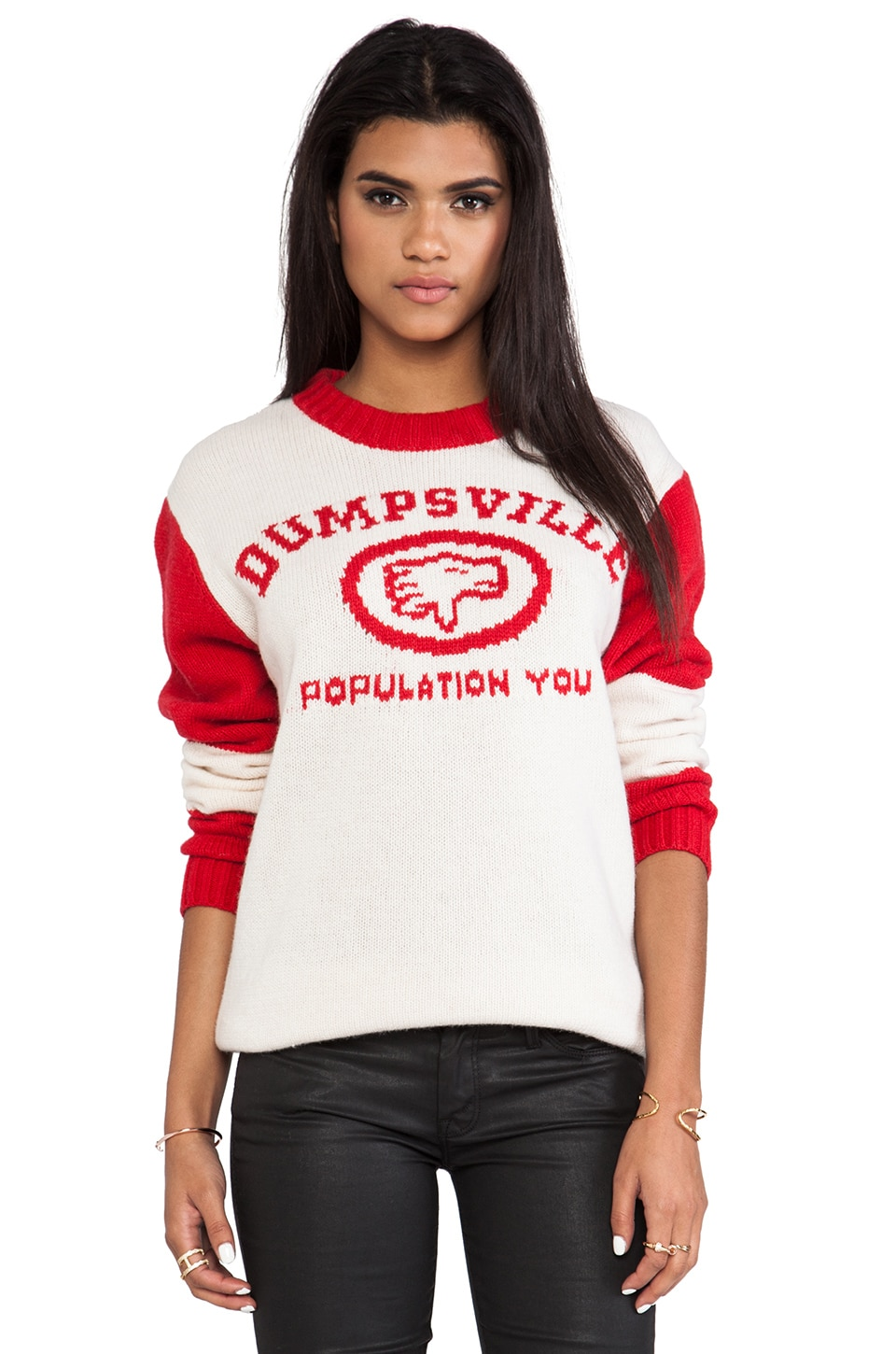 UNIF Dumpsville Sweater in White & Red