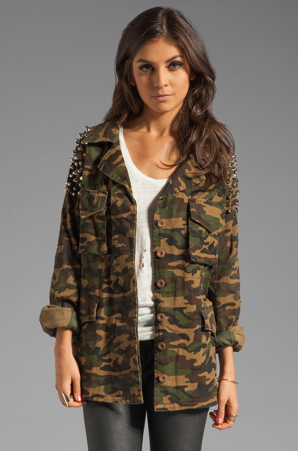 UNIF AWOL Studded Jacket in Camo