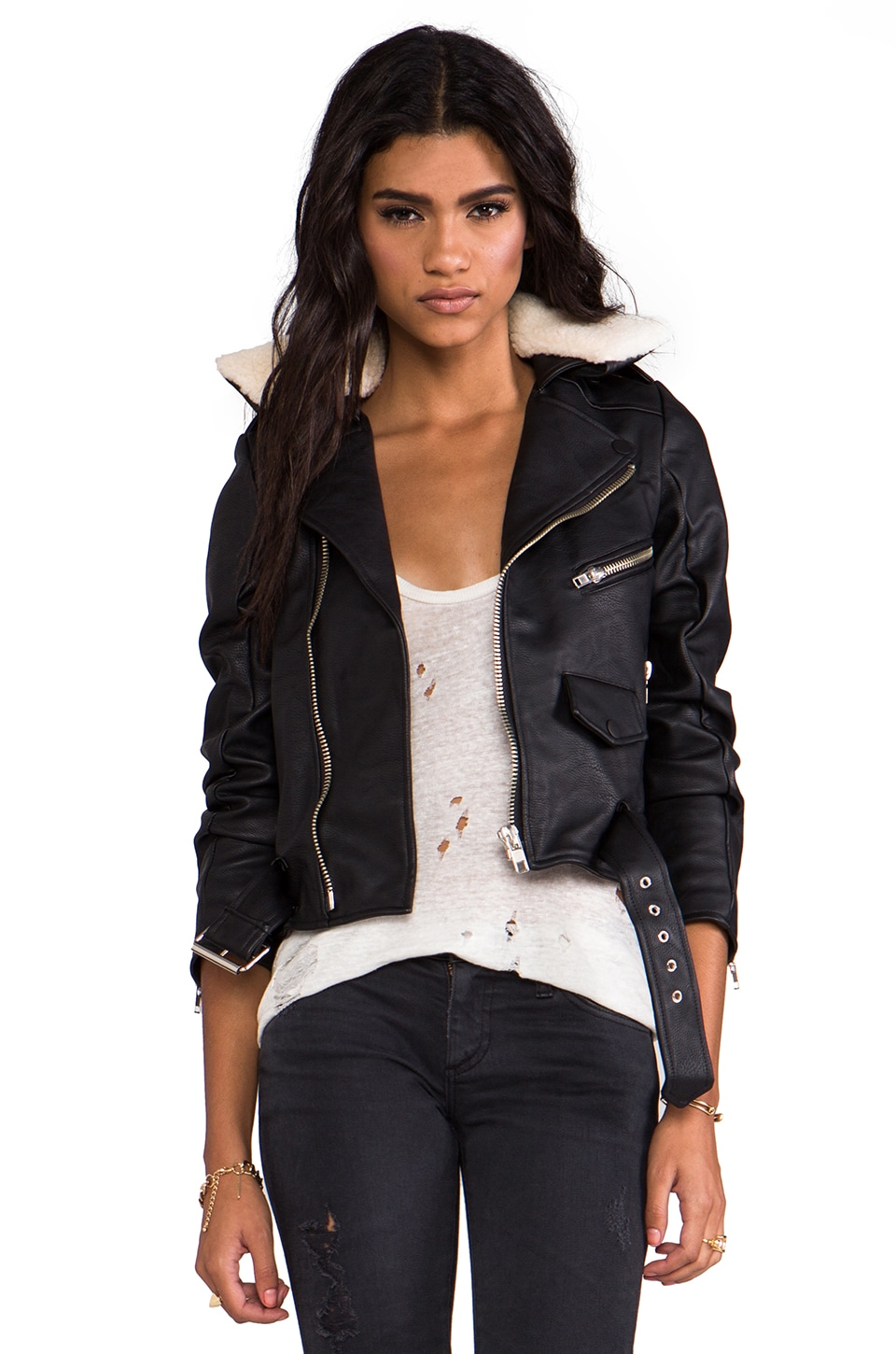UNIF Avihater Jacket w/ Cream and Black Faux Fur Collar in Black