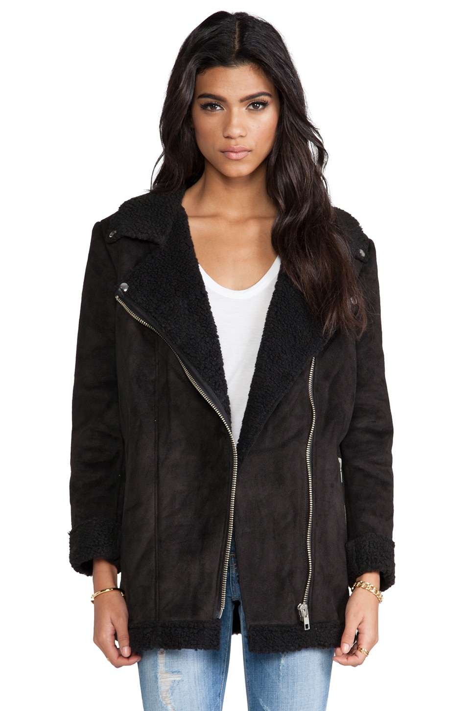 UNIF Prana Coat w/ Faux Shearling in Black