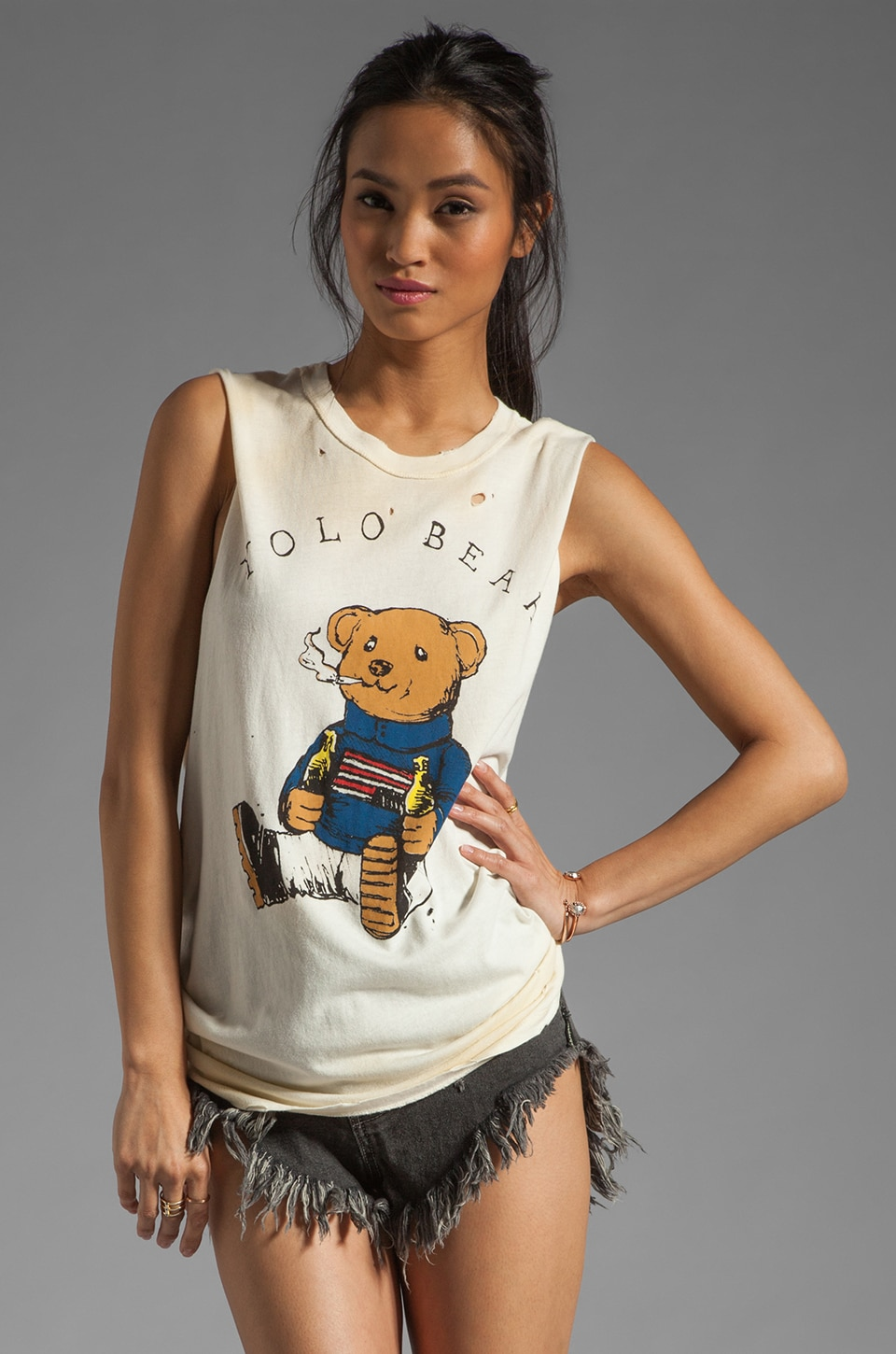 UNIF Yolo Bear Muscle Tee in Dirty White