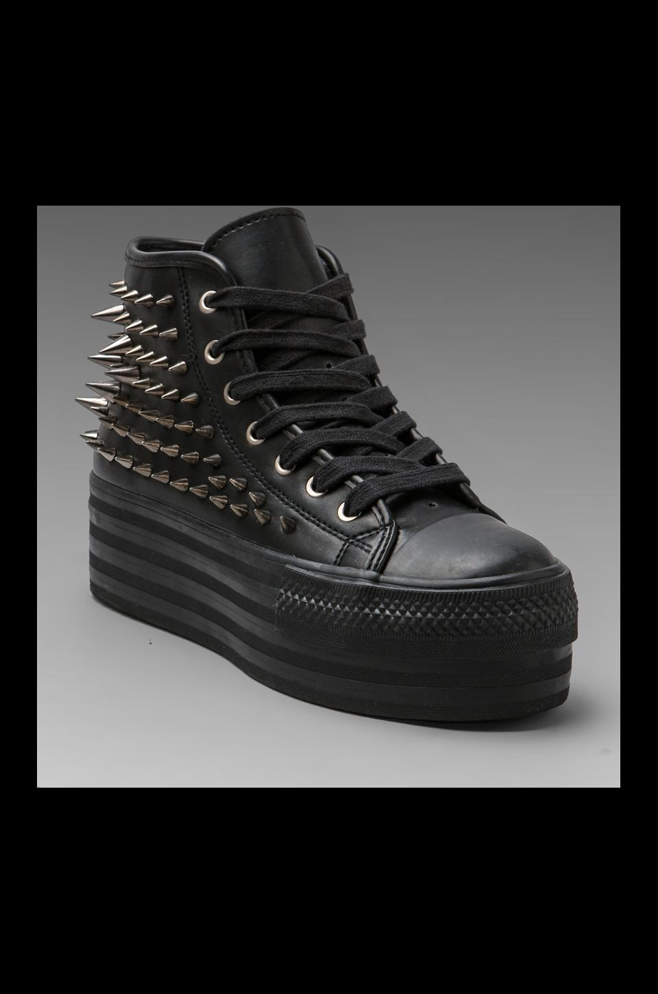 UNIF Koop Leather Studded Sneaker in Black/Silver