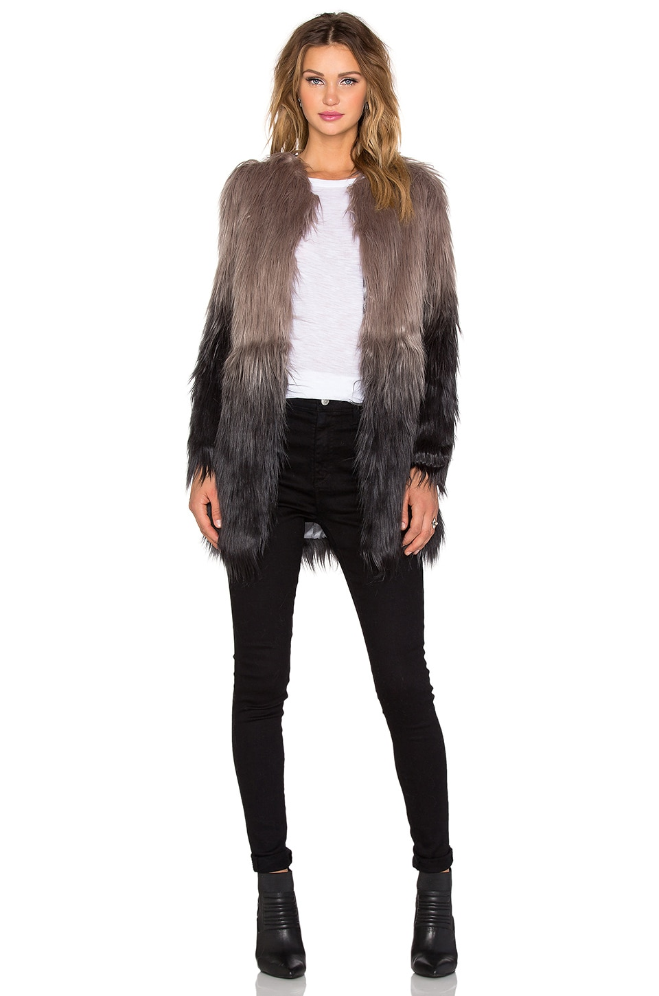Unreal Fur Wanderlust Faux Fur Coat in Grey Ombre