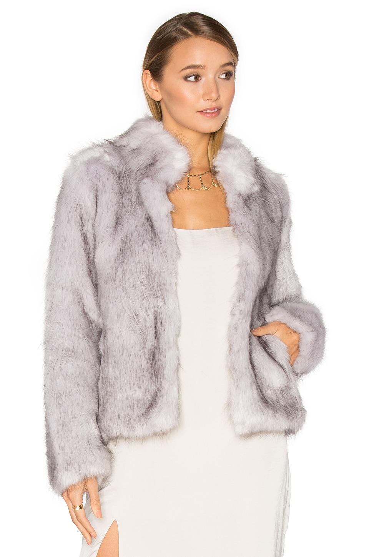 Unreal Fur Silver Lining Faux Fur Jacket in Grey