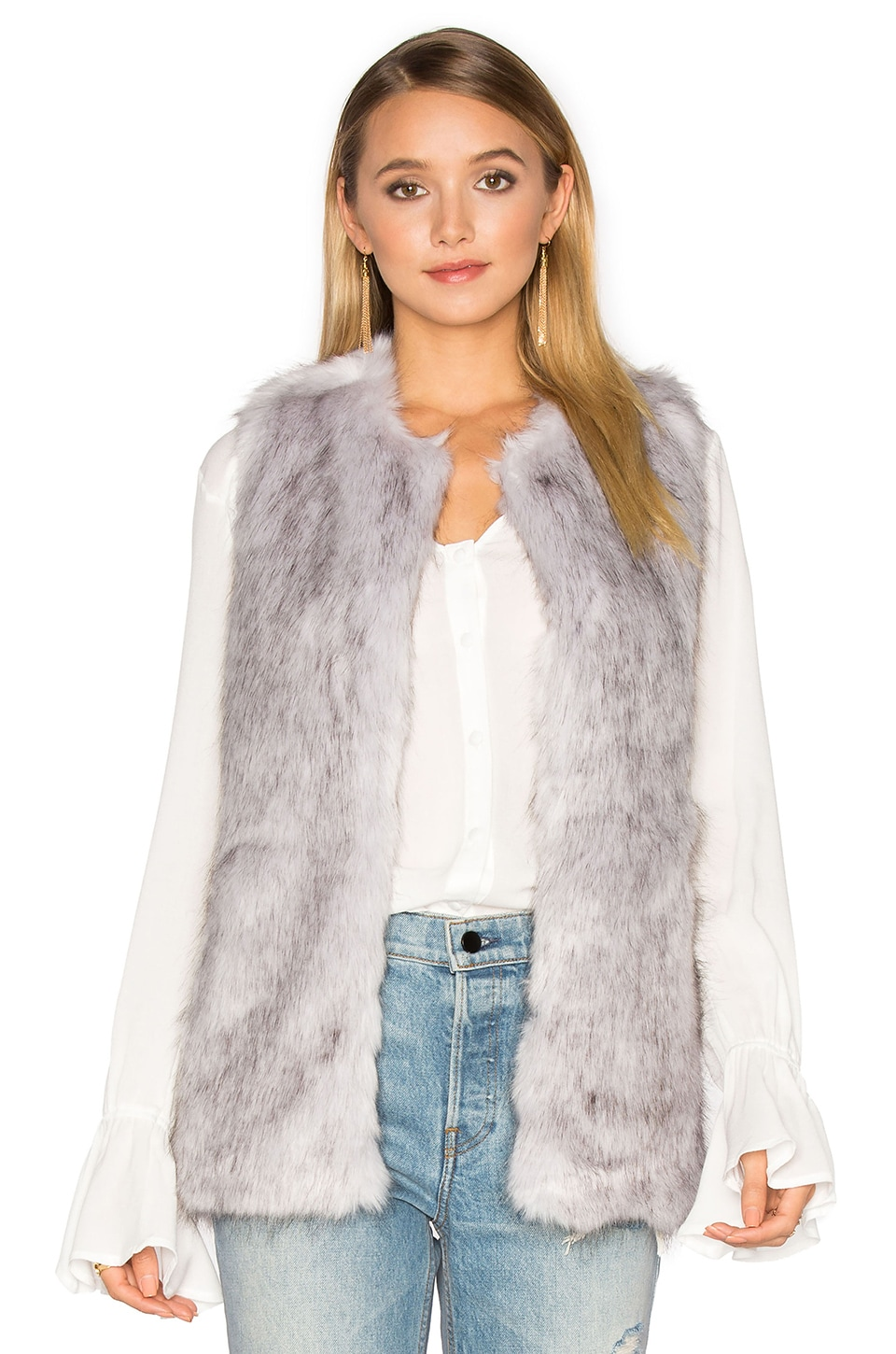 Unreal Fur Silver Lining Faux Fur Vest in Grey
