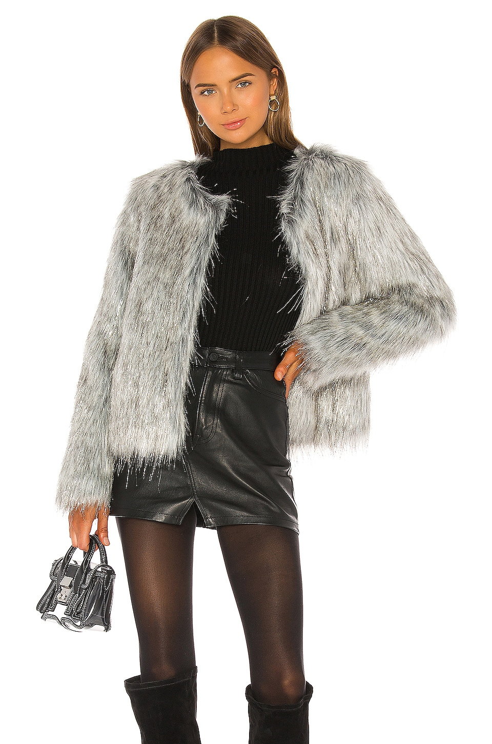 Unreal Fur Fire and Ice Jacket in Grey & Silver