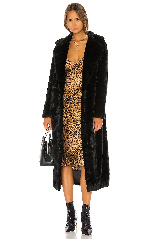 Unreal Fur The Black Bird Coat in Black
