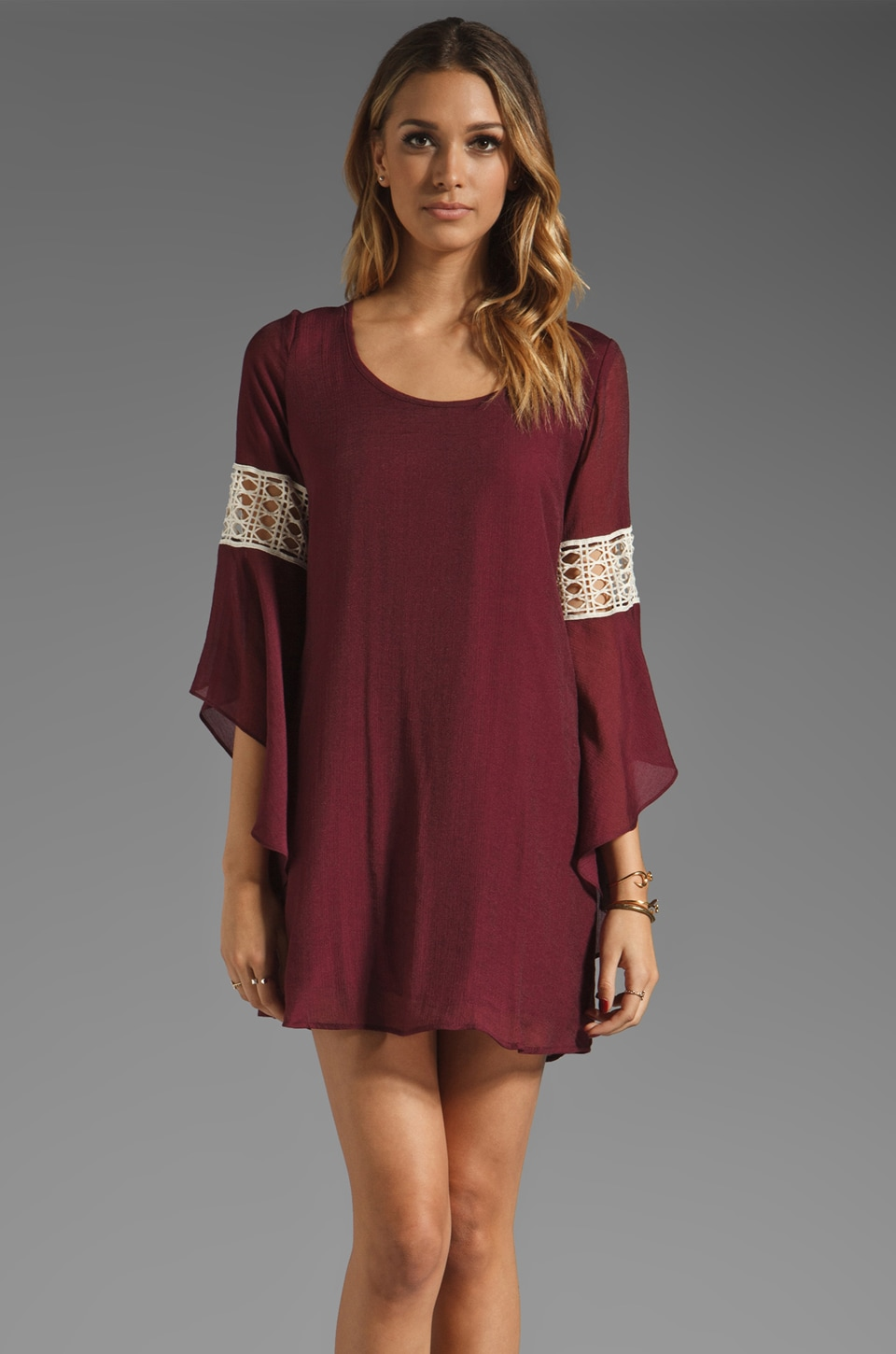 VAVA by Joy Han Bella Bell Sleeve Dress in Berry