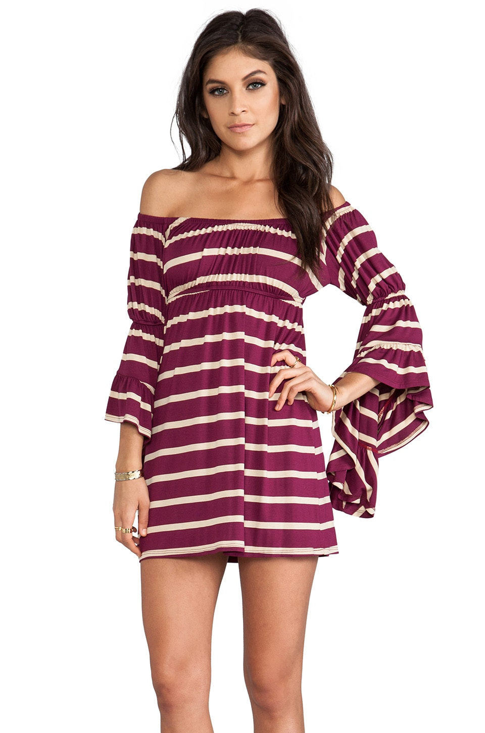 VAVA by Joy Han Tiffany Off the Shoulder Dress in Berry