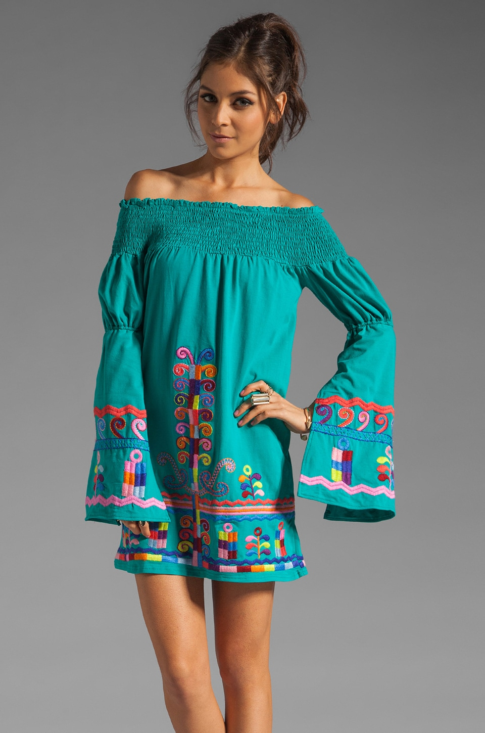 VAVA by Joy Han Dara Off the Shoulder Dress in Turquoise