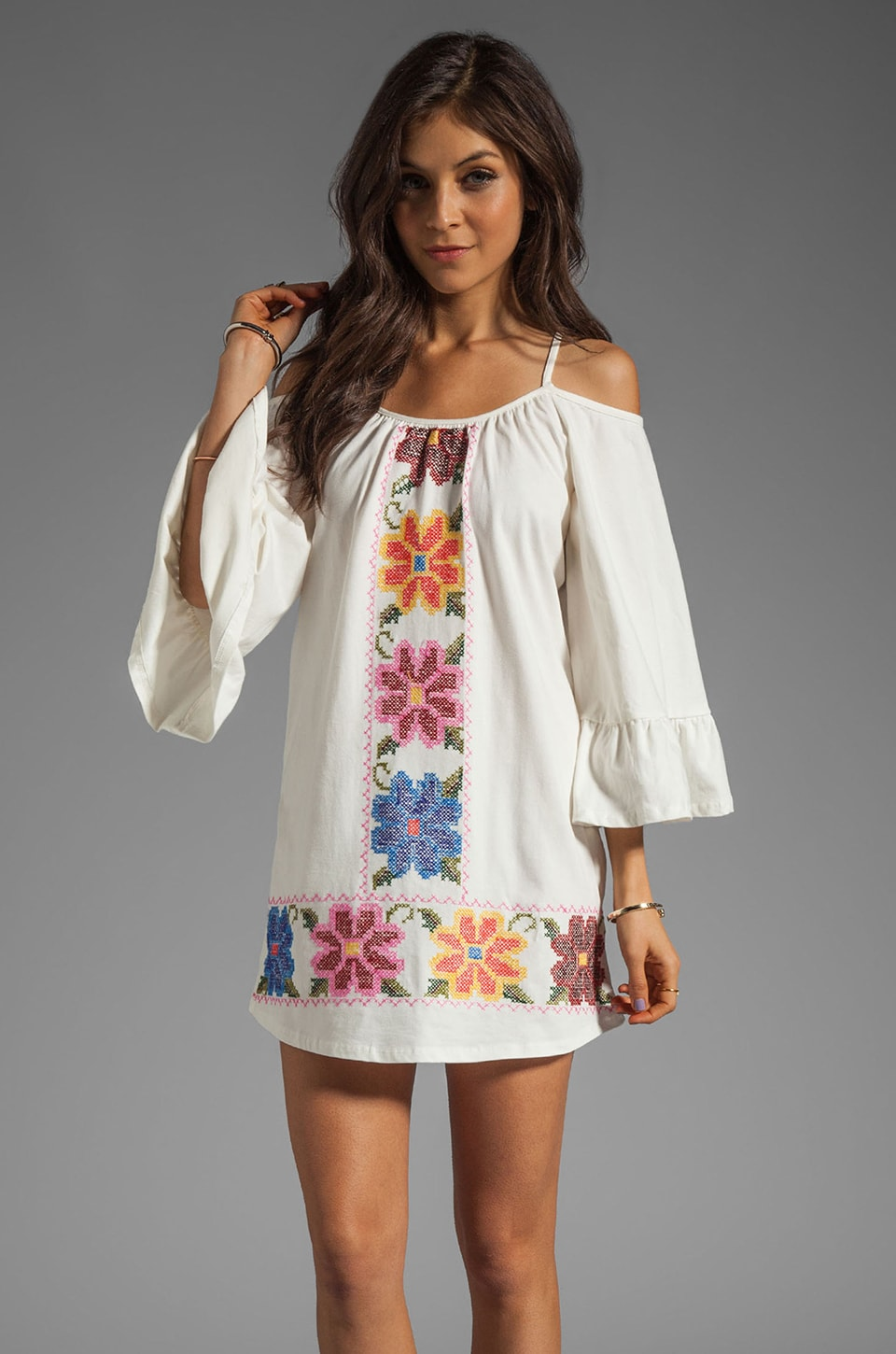 VAVA by Joy Han Anna Embroidered Dress in White