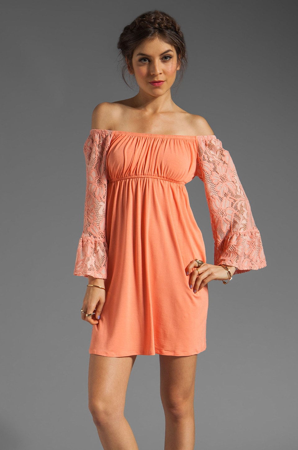 VAVA by Joy Han Skyler Off the Shoulder Dress in Melon