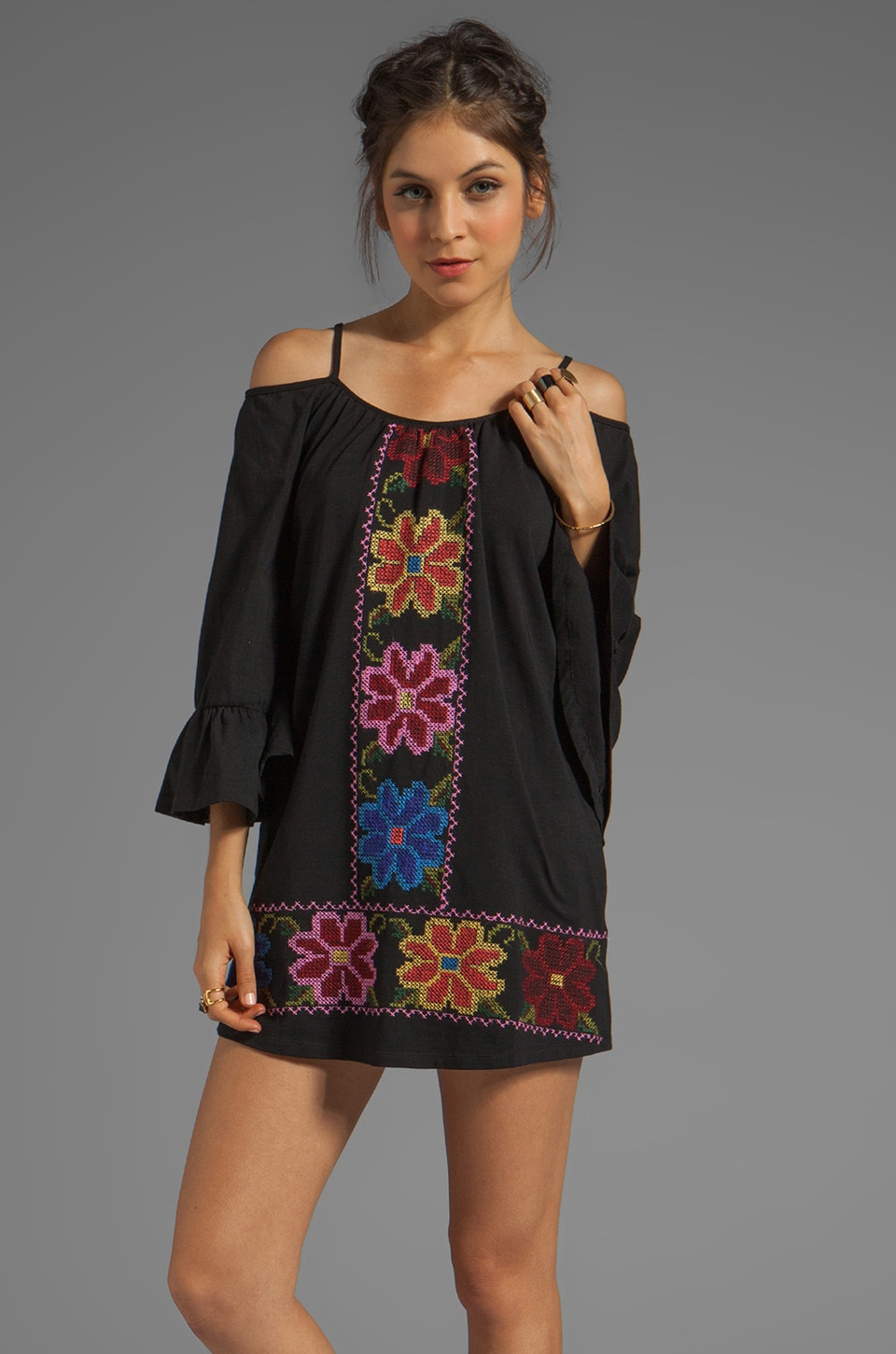 VAVA by Joy Han Embroidered Dress in Black