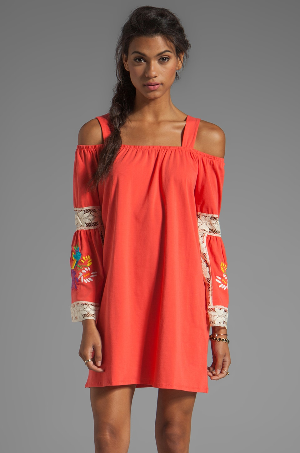 VAVA by Joy Han Jessi Embroidered Dress in Coral