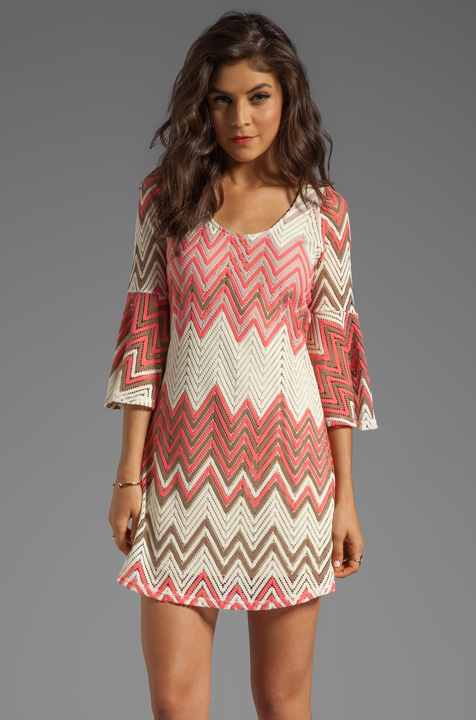 VAVA by Joy Han Madeline Bell Sleeve Dress in Coral