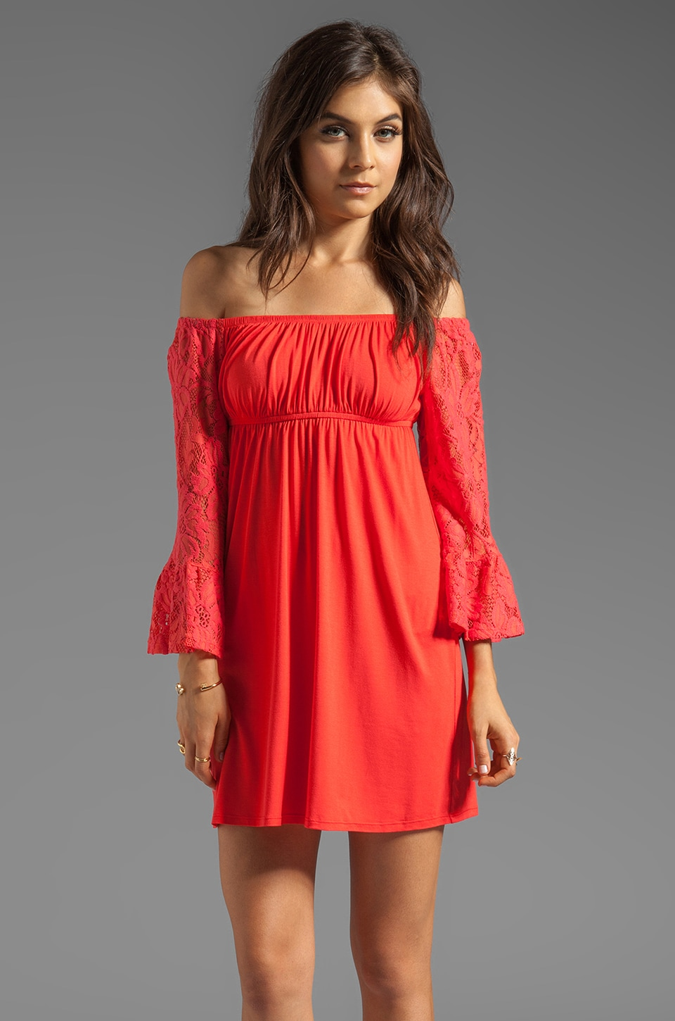 VAVA by Joy Han Skyler Off the Shoulder Dress in Dark Orange