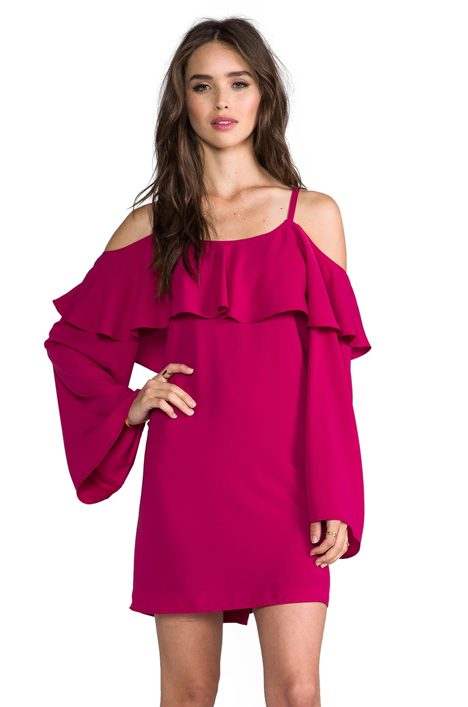 VAVA by Joy Han Leigh Open Shoulder Dress in Berry