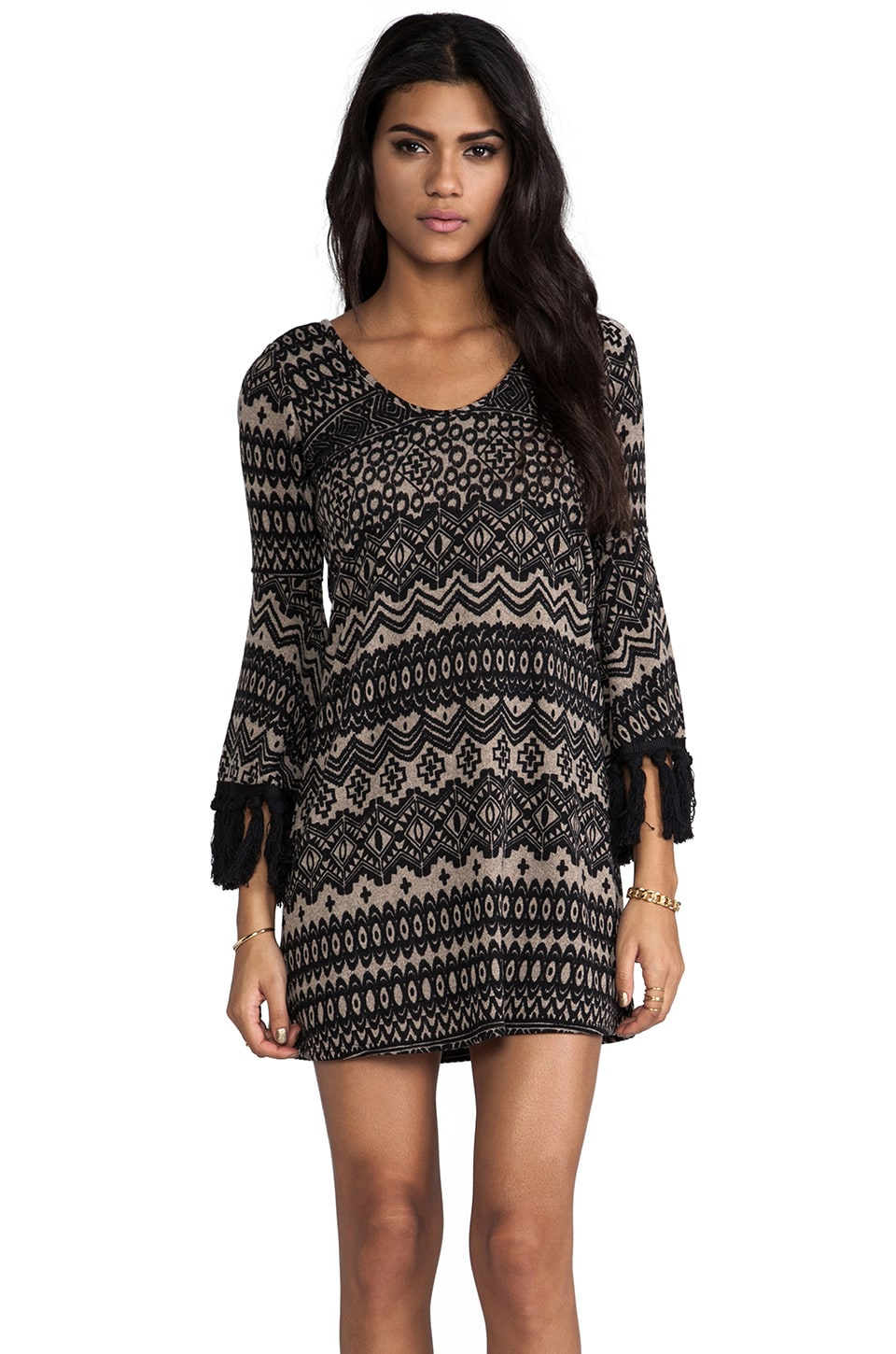VAVA by Joy Han Adele Bell Sleeve Dress in Taupe