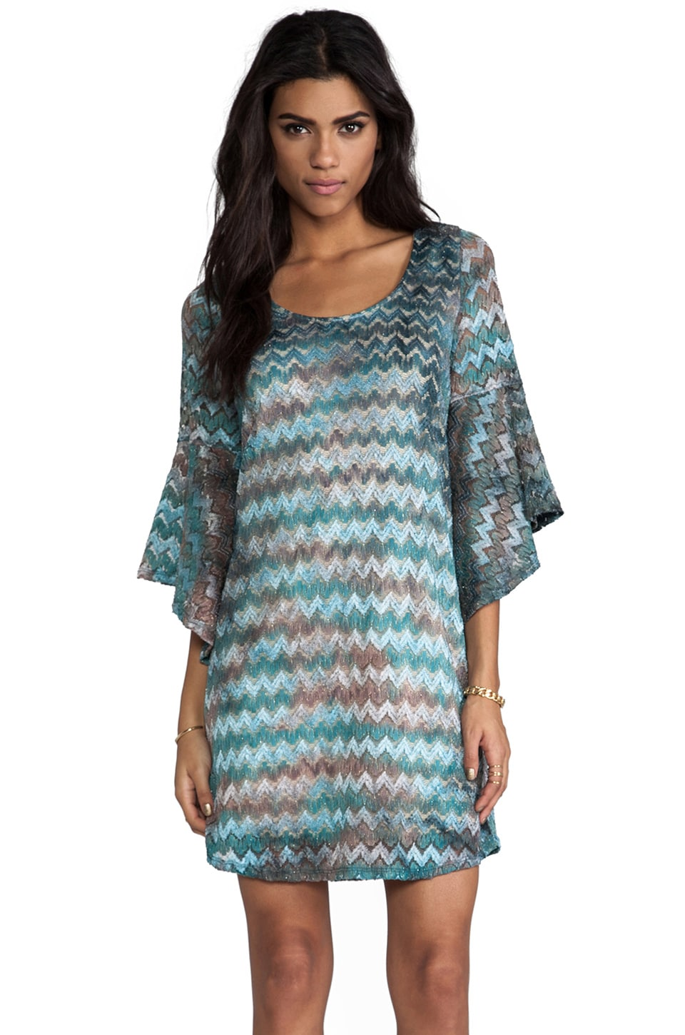 VAVA by Joy Han Sabrina Bell Sleeve Dress in Teal