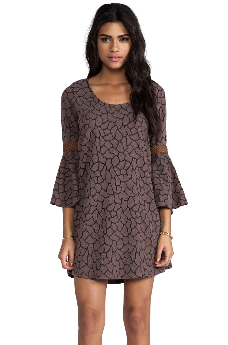 VAVA by Joy Han Wendy Bell Sleeve Dress in Brown