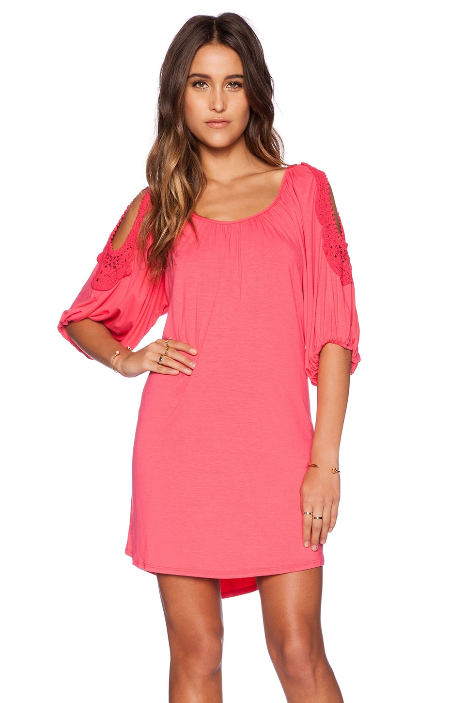 VAVA by Joy Han Mila Smock Dress in Coral