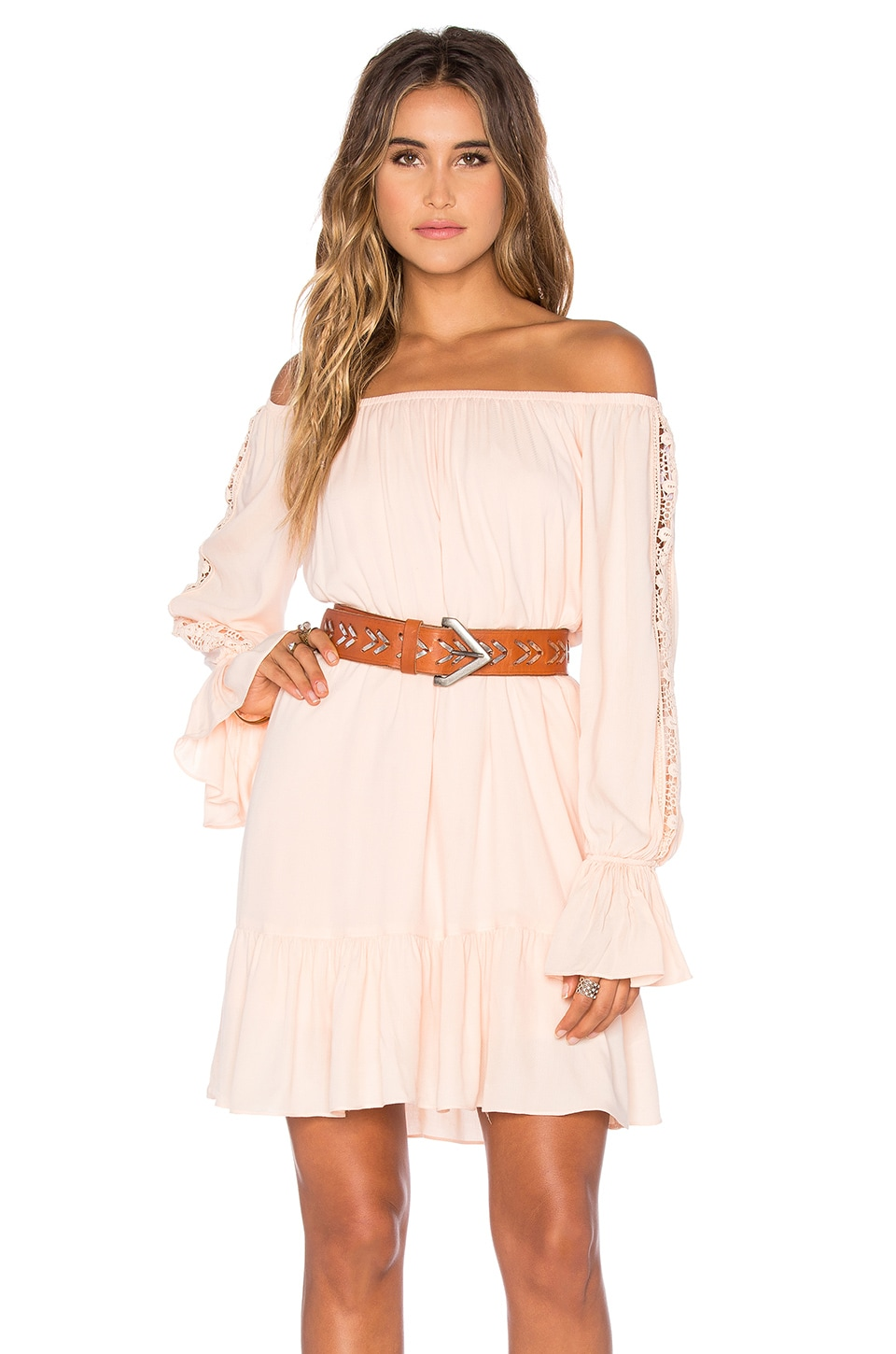 VAVA by Joy Han Dacia Off Shoulder Dress in Peach