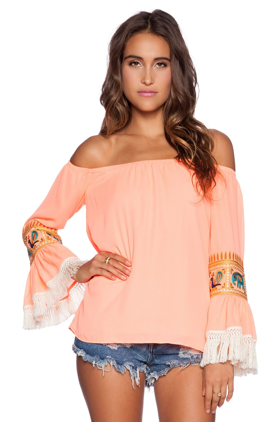 VAVA by Joy Han Chandra Off Shoulder Top in Neon Coral