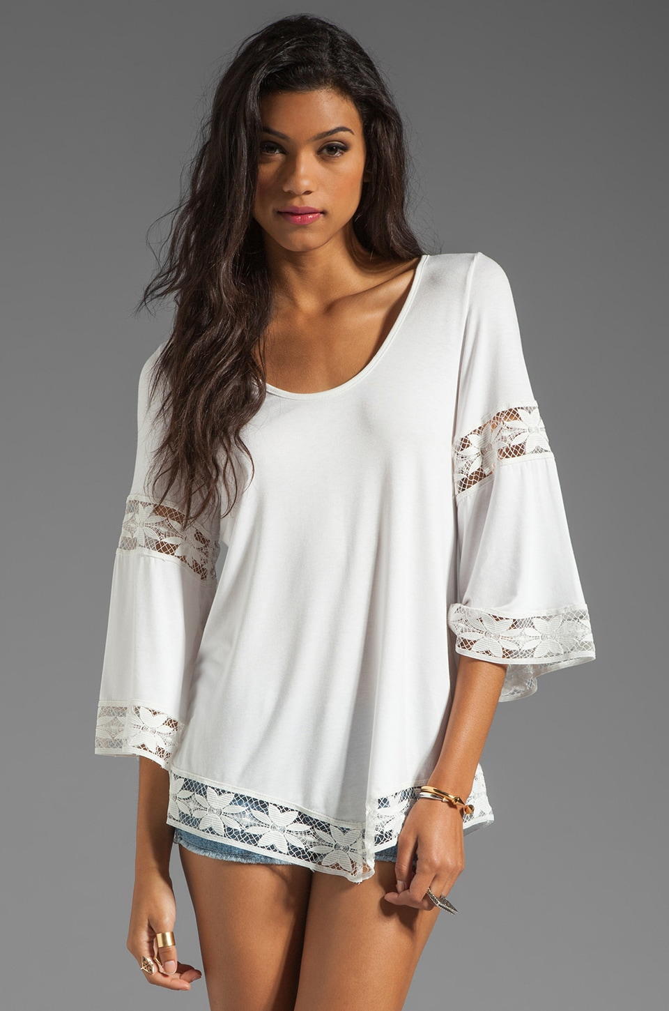 VAVA by Joy Han Erika Lace Detail Top in White