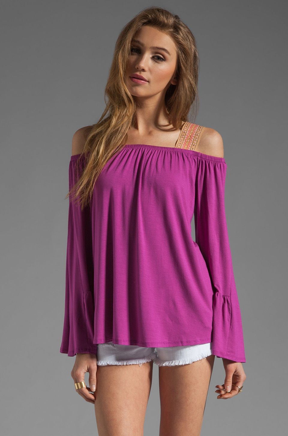VAVA by Joy Han Rachel Off the Shoulder Top in Magenta