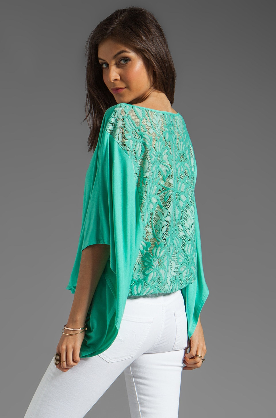 VAVA by Joy Han Skyler Lace Back Top in Seafoam