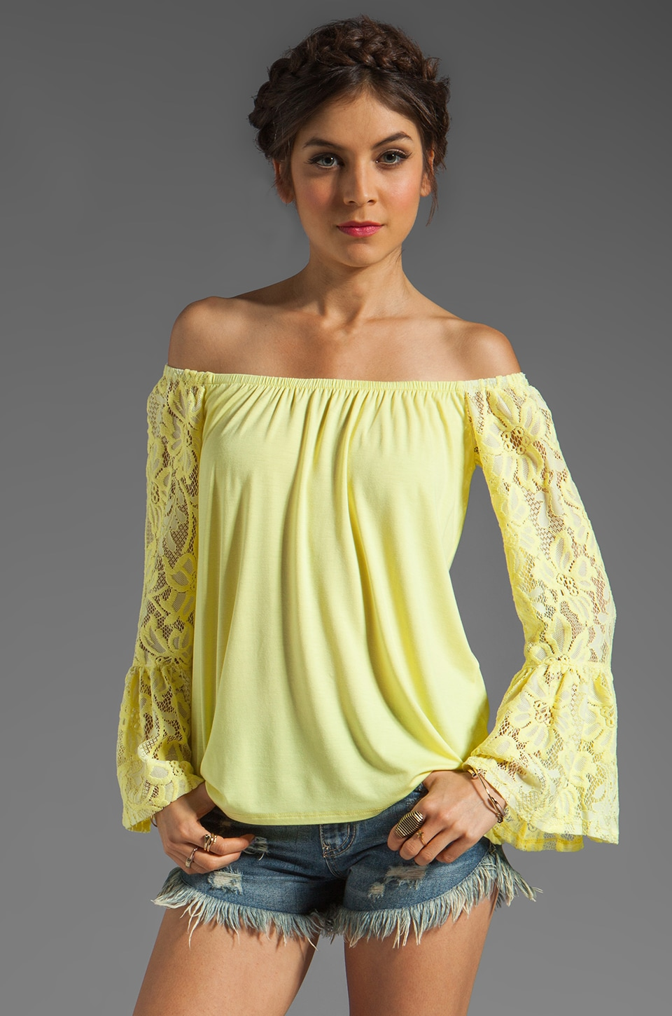 VAVA by Joy Han Skyler Off the Shoulder Top in Yellow