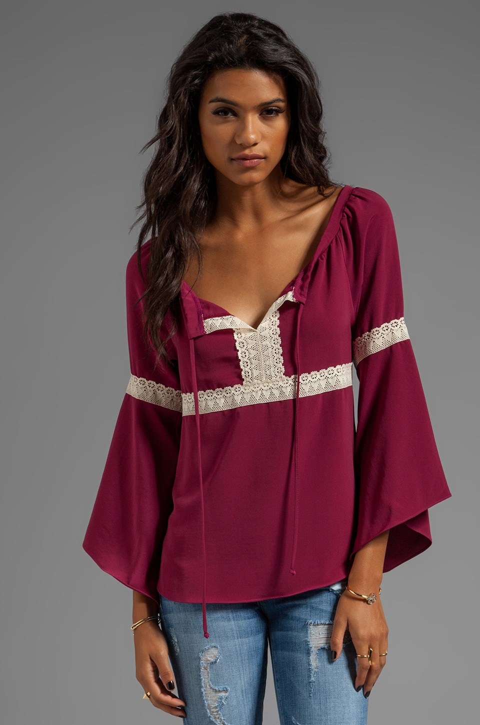 VAVA by Joy Han Angie Top in Burgundy