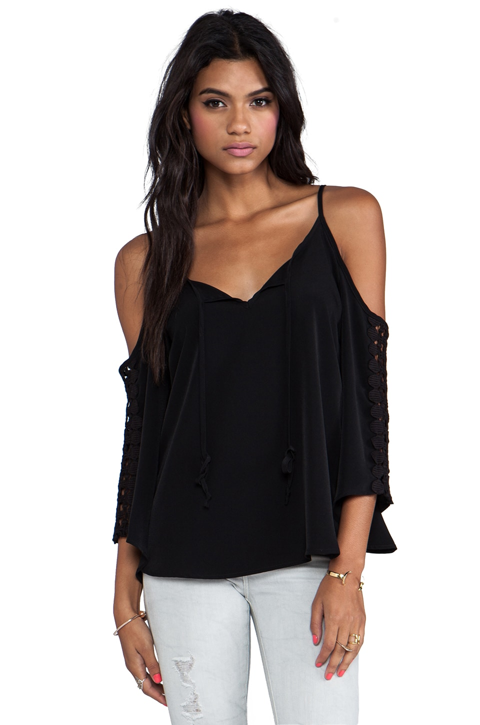 VAVA by Joy Han Elena Open Shoulder Top in Black