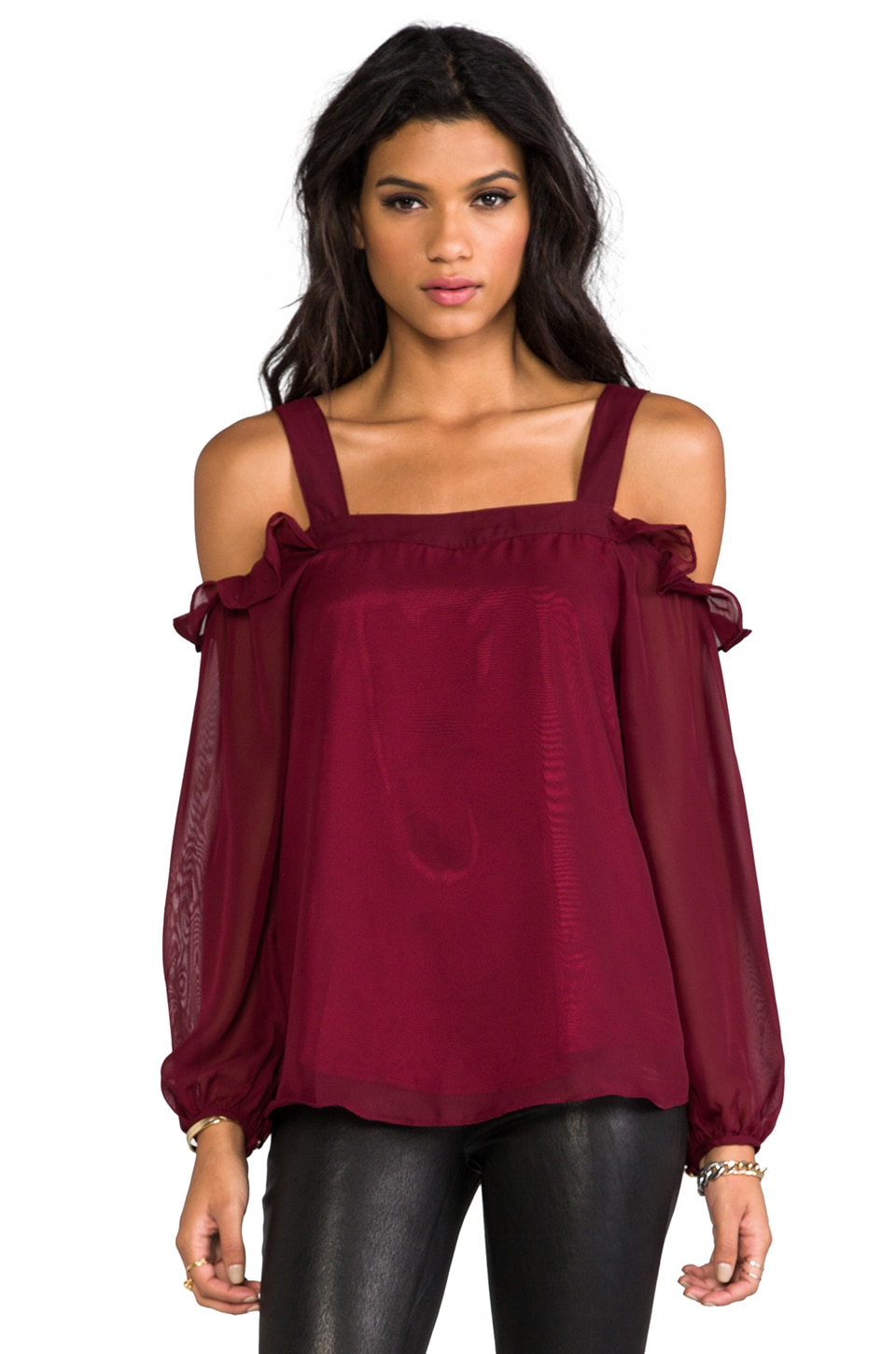 VAVA by Joy Han Isabella Top in Burgundy