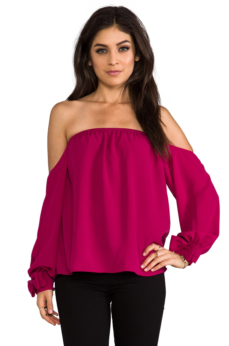 VAVA by Joy Han Amelia Off the Shoulder Top in Berry