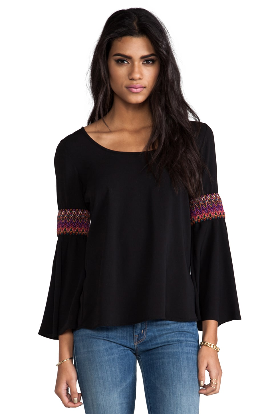 VAVA by Joy Han Betsy Bell Sleeve Top in Black