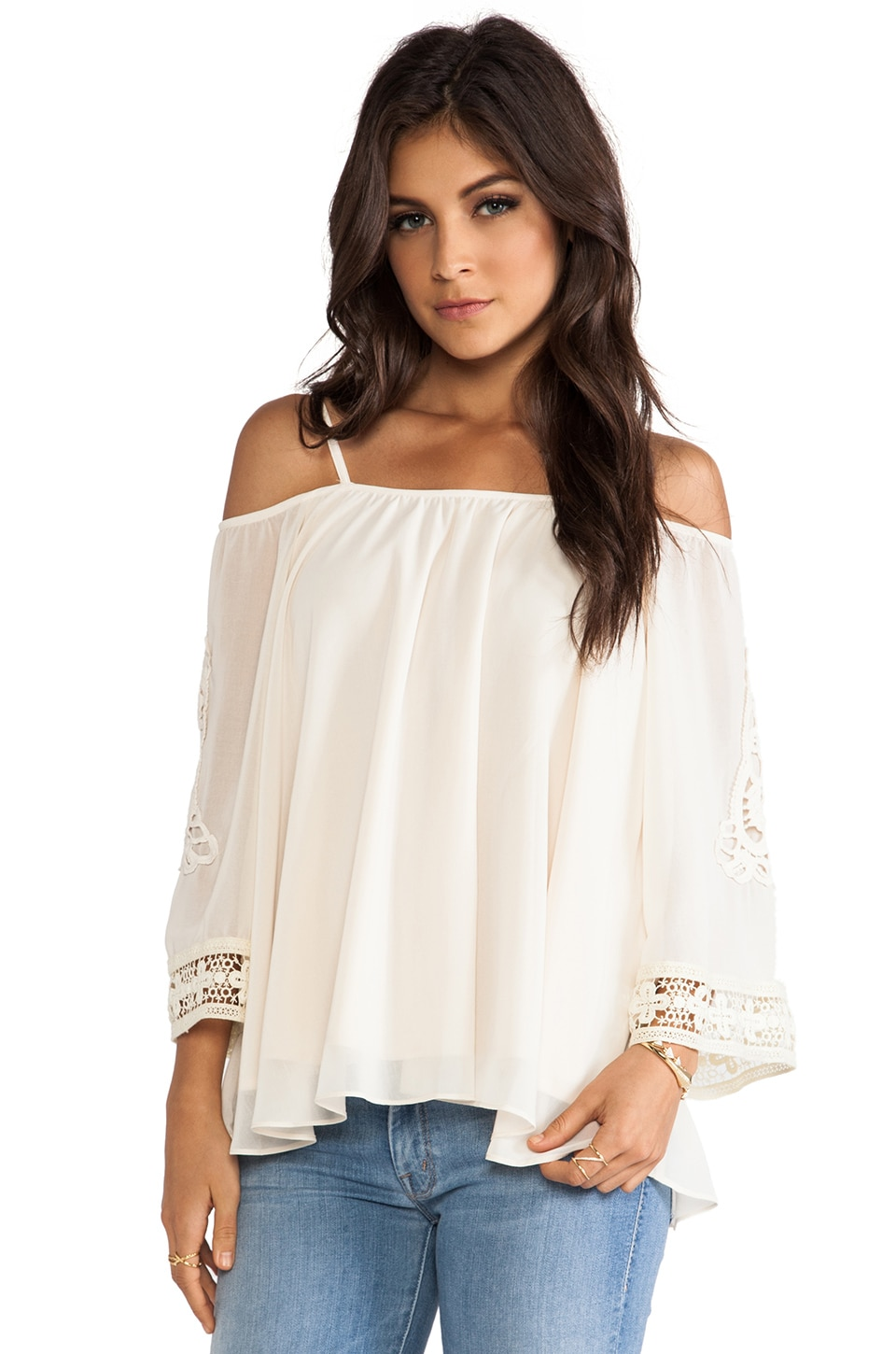 VAVA by Joy Han Eva Open Shoulder Top in Ivory
