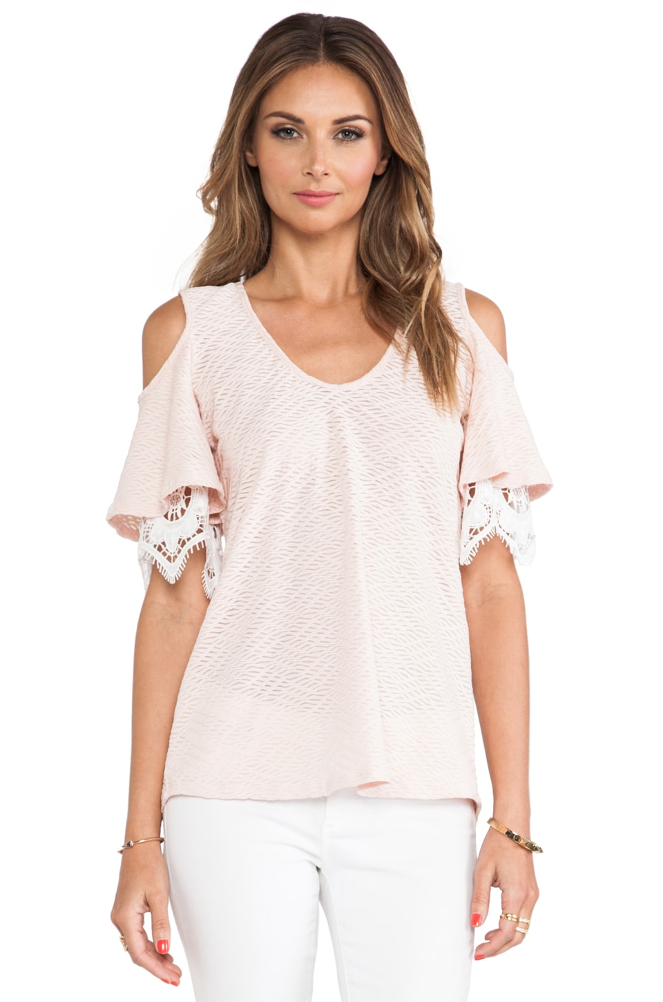 VAVA by Joy Han Caitlyn Open Shoulder Top in Peach
