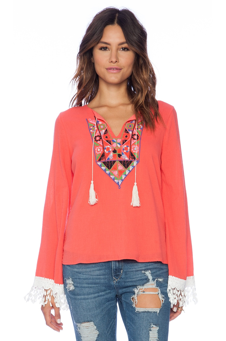 VAVA by Joy Han Teresa Long Sleeve Top in Coral