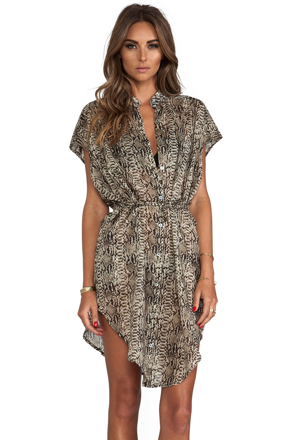 vitamin A Nico Voile Shirt Dress in Python