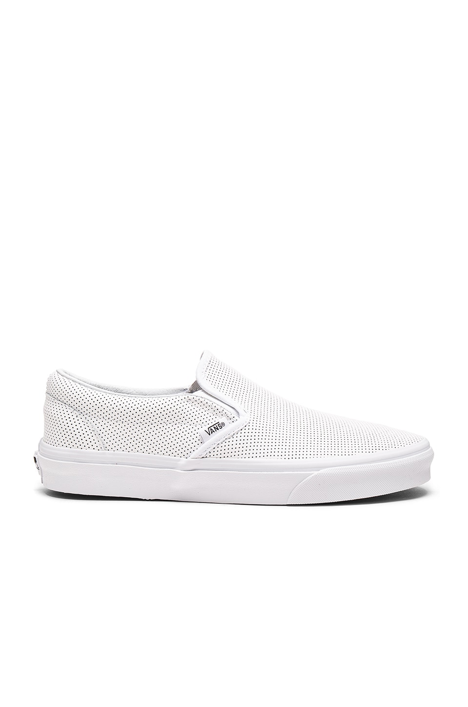 f9acc51d675f43 Vans Classic Slip-On Perf Leather in White